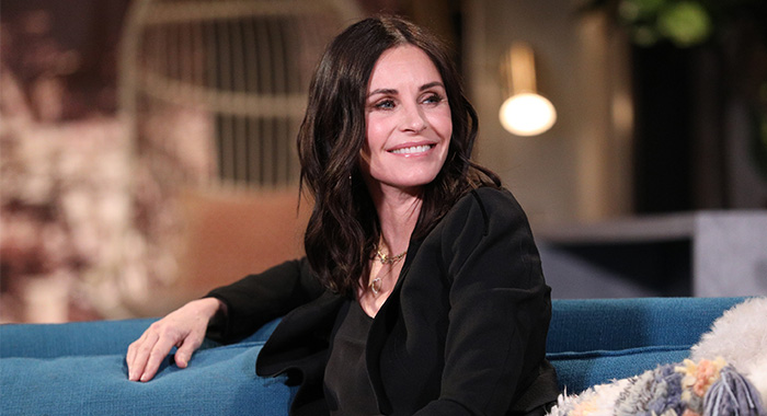 BUSY TONIGHT -- Episode 1074 -- Pictured: Guest Courteney Cox on the set of Busy Tonight -- (Photo by: Jordin Althaus/E! Entertainment/NBCU Photo Bank/NBCUniversal via Getty Images)