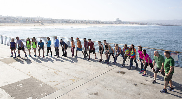 "Pictured L-R: Nicole Franzel and Victor Arroyo, Elissa Slate and Rachel Reilly, Colin Quinn and Christie Woods, Art Velez and John James ""JJ"" Carrell, Becca Droz and Floyd Pierce, Leo Temory and Jamal Zadran, Tyler Oakley and Korey Kuhl, Britney Haynes and Janelle Pierzina, Rupert and Laura Boneham, Corinne Kaplan and Eliza Orlins, Chris Hammons and Bret Labelle at the starting line in Los Angeles, California on THE AMAZING RACE Wednesday, April 17 (9:00-10:00 PM, ET/PT) on the CBS Television Network. Photo: Monty Brinton/CBS ©2018 CBS Broadcasting, Inc. All Rights Reserved"