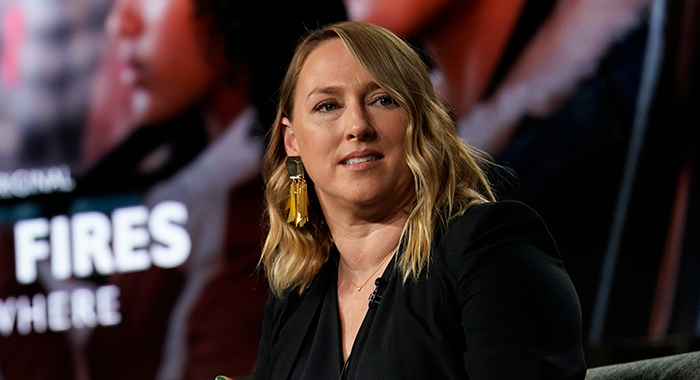 Liz Tigelaar speaks onstage during the Hulu Panel at Winter TCA 2020 at The Langham Huntington, Pasadena on January 17, 2020 in Pasadena, California. (Photo by Erik Voake/Getty Images for Hulu)