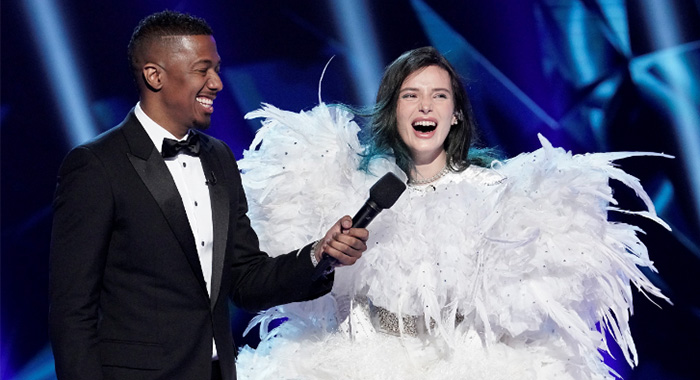 The Masked Singer's Swan, Bella Thorne, is unveiled. (Fox)