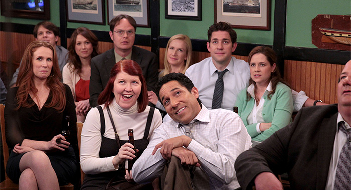 "THE OFFICE -- ""A.A.R.M."" Episode 922 -- Pictured: (l-r) Catherine Tate as Nellie Bertram, Jake Lacy as Pete, Ellie Kemper as Erin Hannon, Rainn Wilson as Dwight Schrute, Kate Flannery as Meredith Palmer, Angela Kinsey as Angela Martin, Oscar Nunez as Oscar Martinez, John Krasinski as Jim Halpert, Jenna Fischer as Pam Beesly Halpert -- (Photo by: Chris Haston/NBCU Photo Bank/NBCUniversal via Getty Images via Getty Images)"