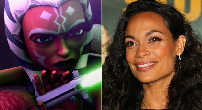 "STAR WARS: THE CLONE WARS, Ahsoka Tano, 2008; WESTWOOD, CALIFORNIA - OCTOBER 10: Rosario Dawson attends the ""Zombieland Double Tap"" Sony Pictures Premiere at Regency Village Theatre on October 10, 2019 in Westwood, California. (©Warner Bros./Courtesy Everett Collection; Jean Baptiste Lacroix/WireImage)"