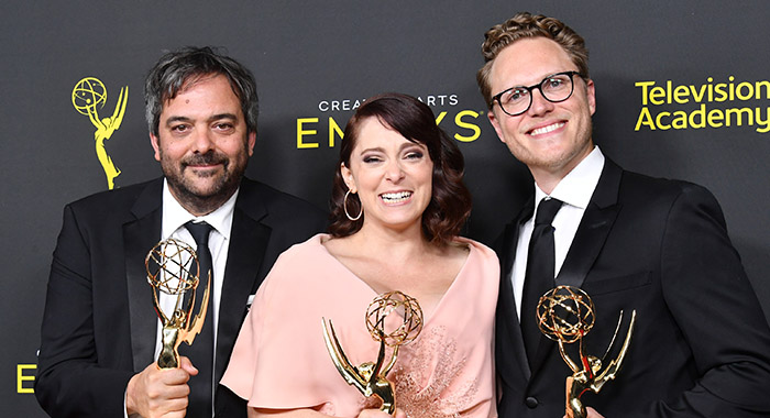 Adam Schlesinger, Rachel Bloom and Jack Dolgen pose with Emmys