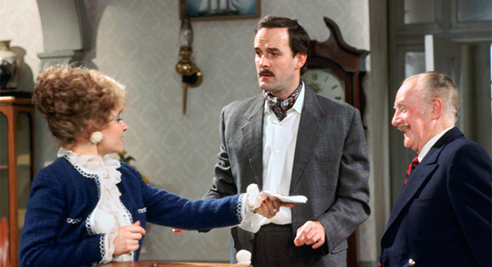 FAWLTY TOWERS, (from left): Prunella Scales, John Cleese, Ballard Berkeley