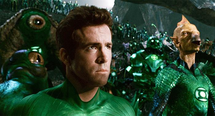 GREEN LANTERN, from left: Ryan Reynolds, Tomar-Re (voice: Geoffrey Rush)