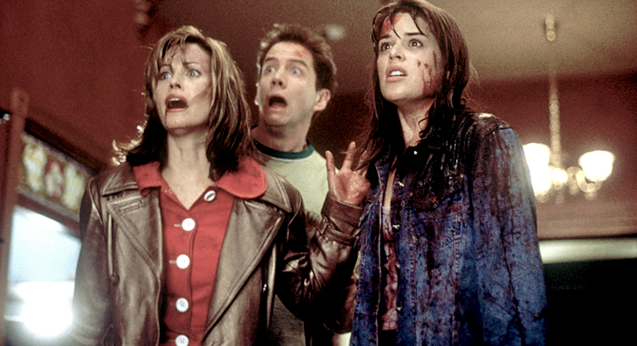 Courtney Cox, Jamie Kennedy, and Neve Campbell in Scream (1996)