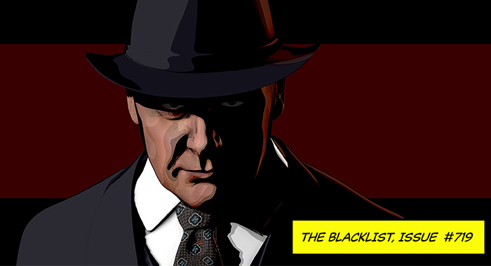 "An artist's rendering of James Spader as Raymond 'Red' Reddington in The Blacklist season 7 finale episode 19, ""The Kazanjian Brothers"""