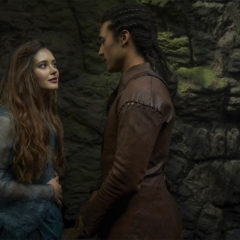 KATHERINE LANGFORD as NIMUE and DEVON TERRELL as ARTHUR in episode 105 of CURSED