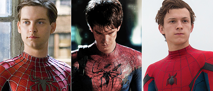 Tobey Maguire, Andrew Garfield, and Tom Holland as Spider-Man