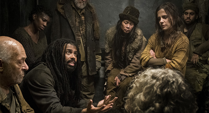 Daveed Diggs and Katie McGuinness in Snowpiercer - Ep 101