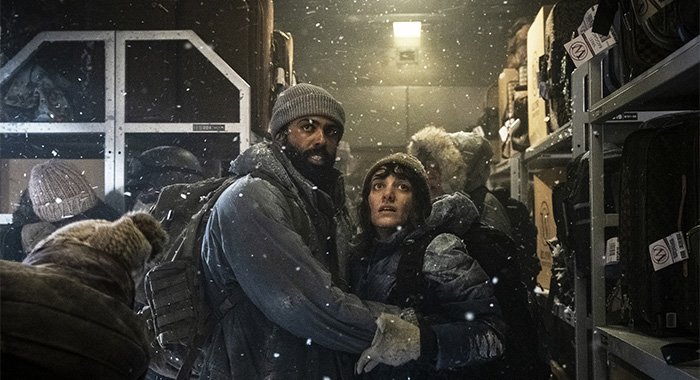 Daveed Diggs and Sheila Vand in Snowpiercer Ep 101