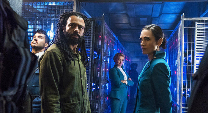 Sam Otto, Daveed Diggs, Alison Wright, and Jennifer Connelly, in Snowpiercer season 1