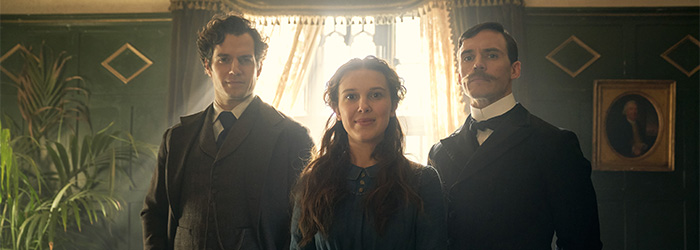 Henry Cavill, Millie Bobby Brown, and Sam Claflin in Enola Holmes