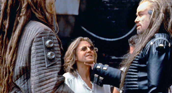 Director Roger Christian and star John Travolta on the set of Battlefield Earth