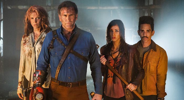Lucy Lawless, Bruce Campbell, Dana DeLorenzo, and Ray Santiago in Ash vs. Evil Dead