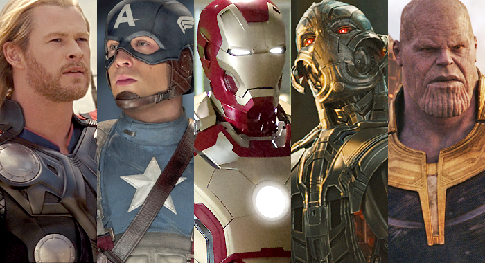 Thor, Captain America, Iron Man, Ultron, and Thanos