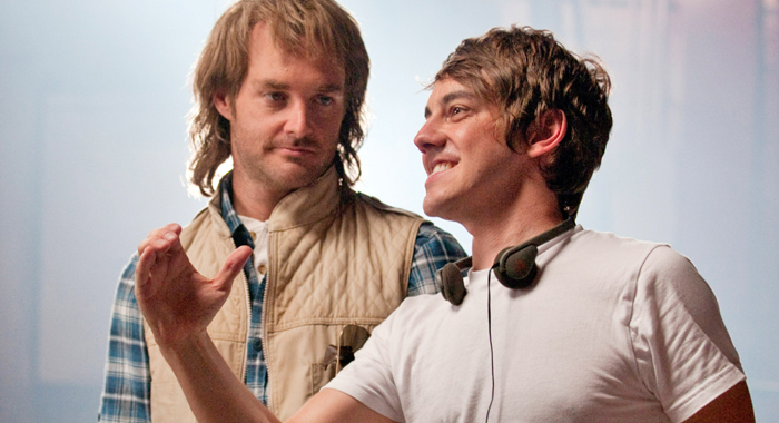 Star Will Forte and director Jorma Taccone on the set of MacGruber