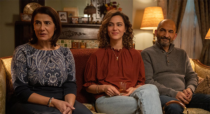 Hiam Abbass, May Calamawy, and Amr Waked in Ramy episode 208