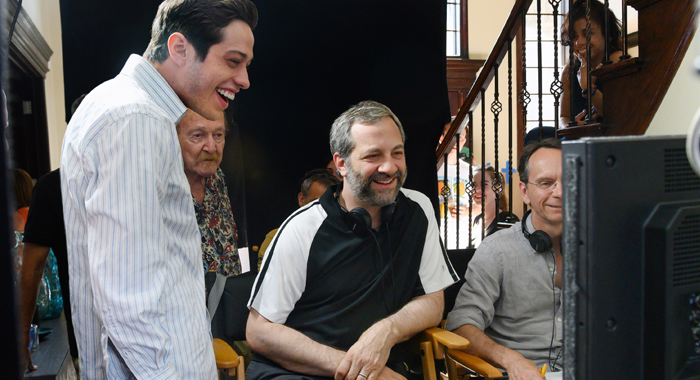 Pete Davidson and Judd Apatow on the set of The King of Staten Island