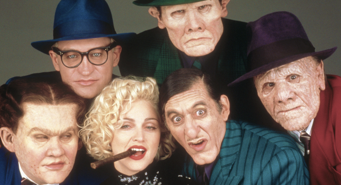 William Forsythe, Ed O'Ross, Madonna, Henry Silva, Al Pacino, and R.G. Armstrong in Dick Tracy