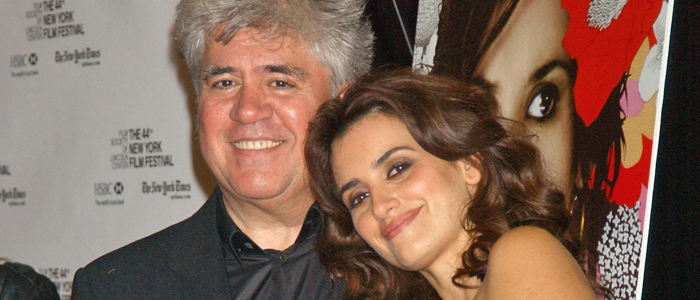 Pedro Almodovar and Penelope Cruz at a screening of Volver