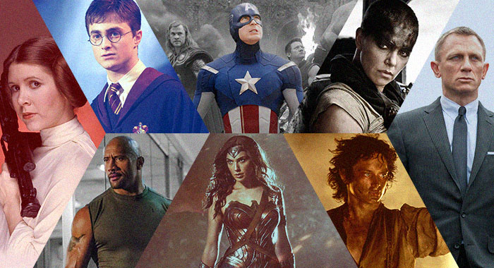 Collage of movie franchise images, including Star Wars, Harry Potter, The Fast and the Furious, Marvel Cinematic Universe, DC Extended Universe, Mad Max, the Lord of the Rings, and James Bond