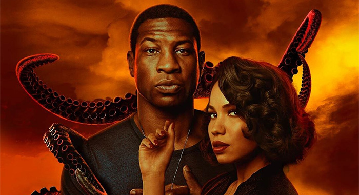 Jonathan Majors and Jurnee Smollett in Lovecraft Country season 1 keyart