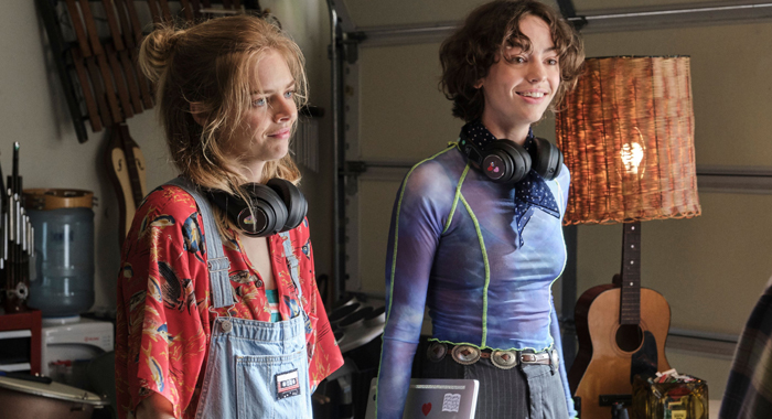 Samara Weaving and Brigette Lundy-Paine in Bill & Ted Face the Music