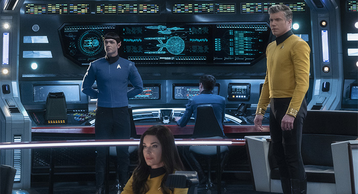 "Ethan Peck as Spock; Rebecca Romijn as Number One; Anson Mount as Captain Pike of STAR TREK: SHORT TREKS episode ""Q&A"""