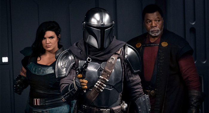 Gina Carano, Pedro Pascal and Carl Weathers in The Mandalorian season 2