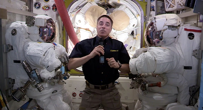 Astronaut Chris Cassidy on the International Space Station for the 72nd Emmy Awards program