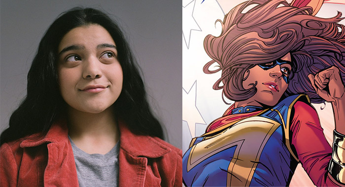 Iman Vellani for TIFF and Ms. Marvel comic issue 13 cover