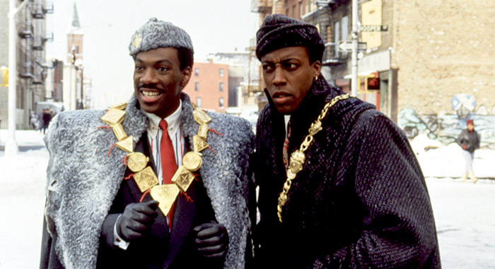 COMING TO AMERICA, Eddie Murphy, Arsenio Hall, 1988