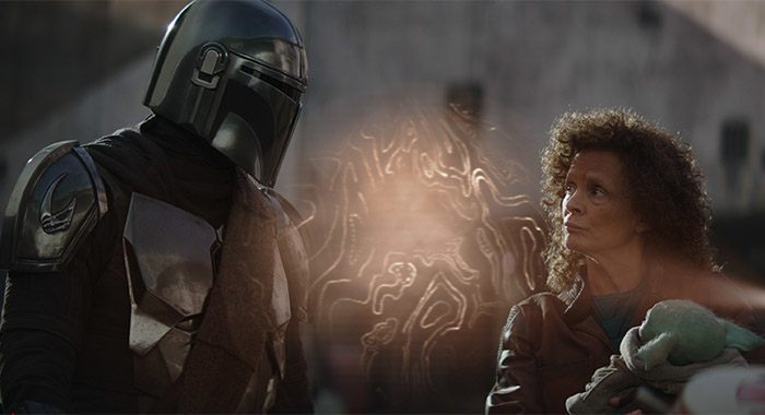 Pedro Pascal and Amy Sedaris in The Mandalorian season 2, episode 1