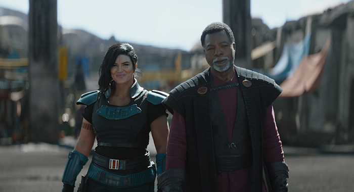 Gina Carano and Carl Weathers in The Mandalorian Chapter 12