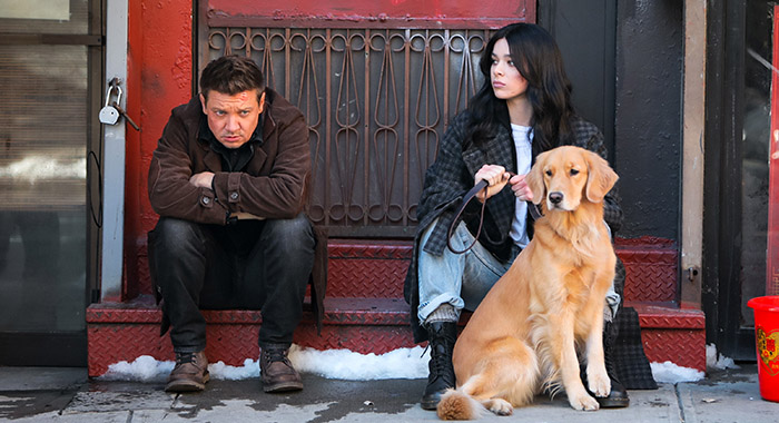 """Jeremy Renner and Hailee Steinfeld filming """"Hawkeye"""" in New York City"""