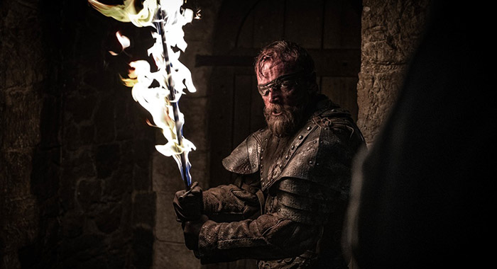 "Richard Dormer as Berric Dondarrion in Game of Thrones season 8, episode 3 ""The Long Night"""