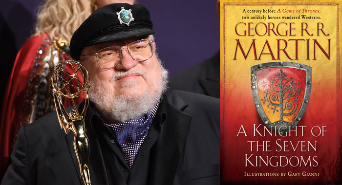 George RR Martin and A Knight of the Seven Kingdoms book cover