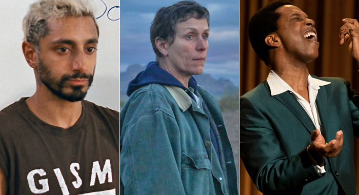 Riz Ahmed in Sound of Metal, Frances McDormand in Nomadland, and Leslie Odom Jr. in One Night in Miami