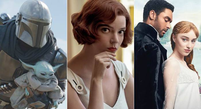 Pedro Pascal in The Mandalorian, Anya Taylor-Joy in The Queen's Gambit, and Regé-Jean Page and Phoebe Dynevor in Bridgerton