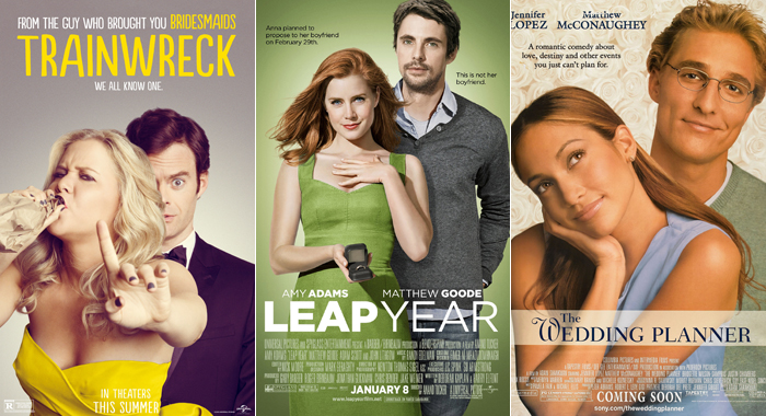 Posters for Trainwreck, Leap Year, and The Wedding Planner
