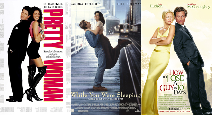 Posters for Pretty Woman, While You Were Sleeping, and How to Lose a Guy in 10 Days