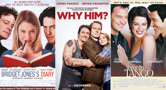 Posters for Bridget Jones's Diary, Why Him?, and Three to Tango