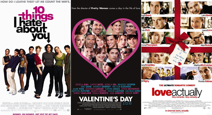 Posters for 10 Things I Hate About You, Valentine's Day, and Love, Actually