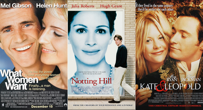 Posters for What Women Want, Notting Hill, and Kate & Leopold