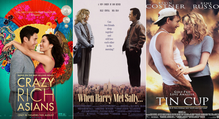Posters for Crazy Rich Asians, When Harry Met Sally, and Tin Cup