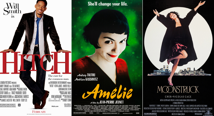 Posters for Hitch, Amelie, and Moonstruck
