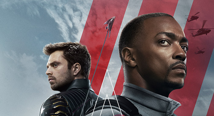 Sebastian Stan and Anthony Mackie in The Falcon and the Winter Soldier keyart