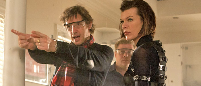 Paul W.S. Anderson and Milla Jovovich on the set of Resident Evil: Retribution