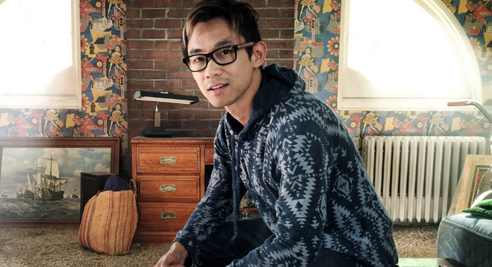 James Wan on the set of The Conjuring 2